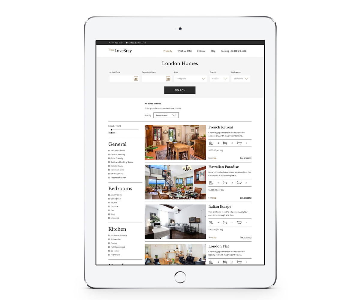 ipad opening a website of search